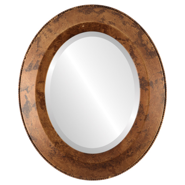 Beveled Mirror - Lombardia Oval Frame - Venetian Gold