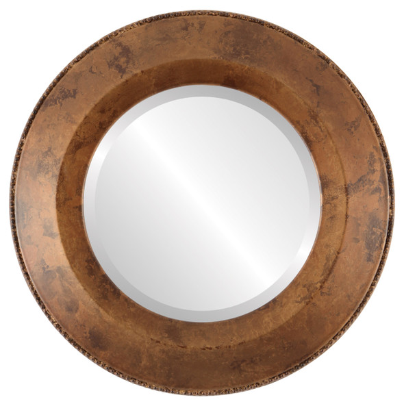 Beveled Mirror - Lombardia Round Frame - Venetian Gold