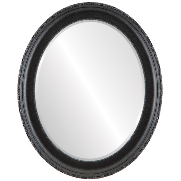 Beveled Mirror - Kensington Oval Frame - Black Silver