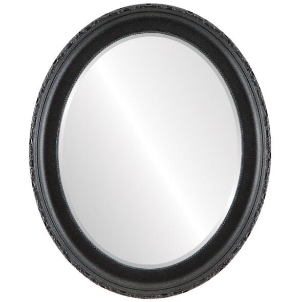 Beveled Mirror - Kensington Oval Frame - Black Silver