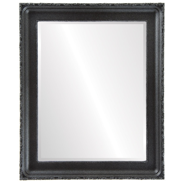 Beveled Mirror - Kensington Rectangle Frame - Black Silver