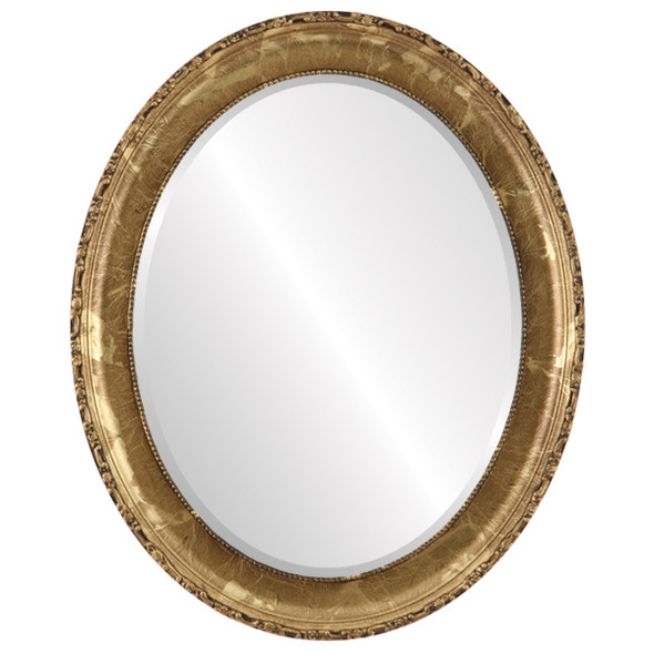 Beveled Mirror - Kensington Oval Frame - Champagne Gold