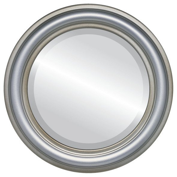 Beveled Mirror - Philadelphia Round Frame - Silver Shade