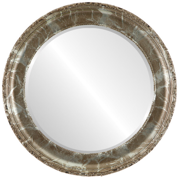 Beveled Mirror - Kensington Round Frame - Champagne Silver