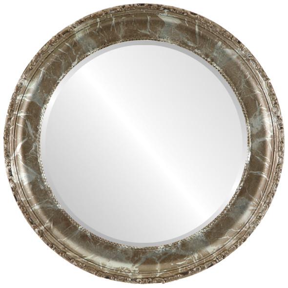 Beveled Mirror - Kensington Round Frame - Champagne Silver