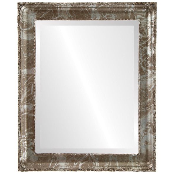 Beveled Mirror - Kensington Rectangle Frame - Champagne Silver