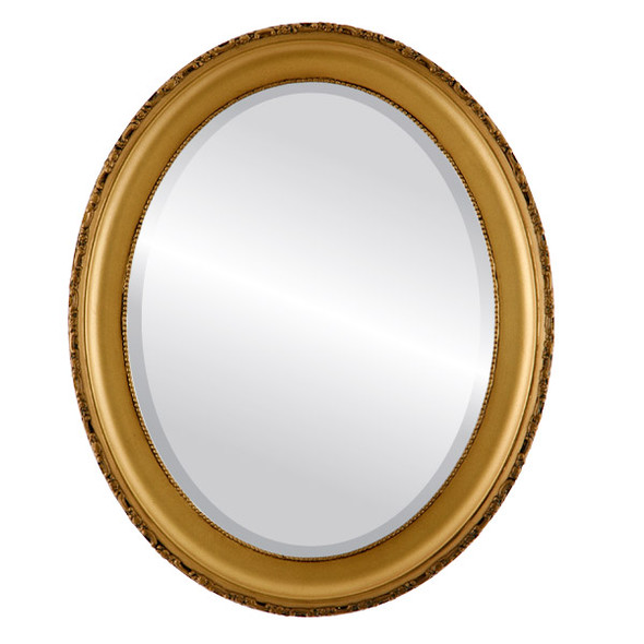 Beveled Mirror - Kensington Oval Frame - Desert Gold