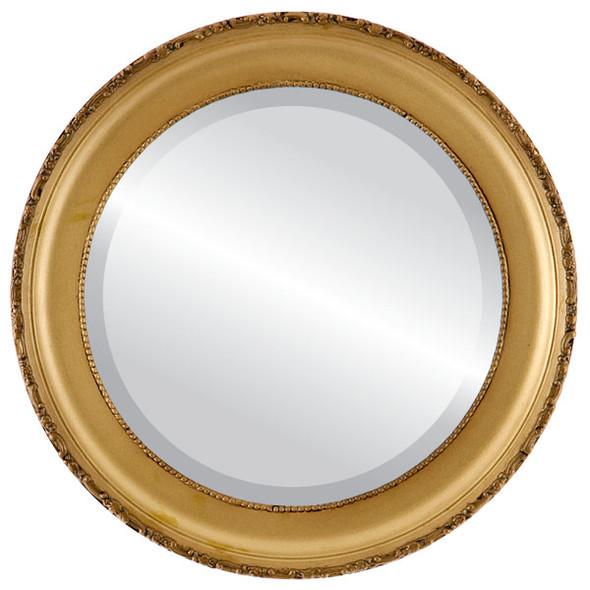 Beveled Mirror - Kensington Round Frame - Desert Gold