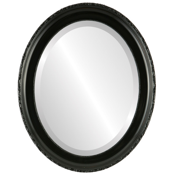 Beveled Mirror - Kensington Oval Frame - Gloss Black
