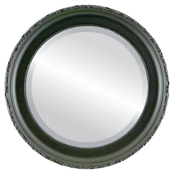 Beveled Mirror - Kensington Round Frame - Gloss Black