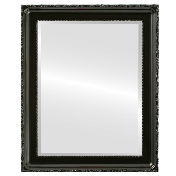 Beveled Mirror - Kensington Rectangle Frame - Gloss Black