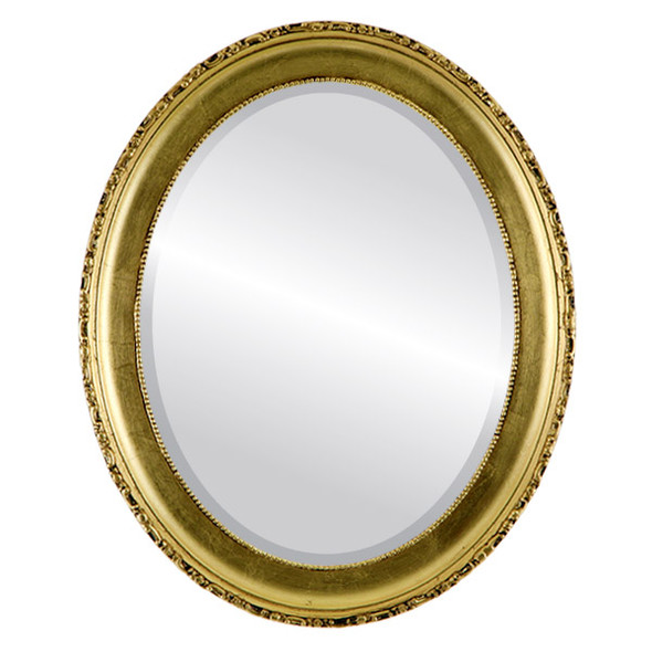 Beveled Mirror - Kensington Oval Frame - Gold Leaf