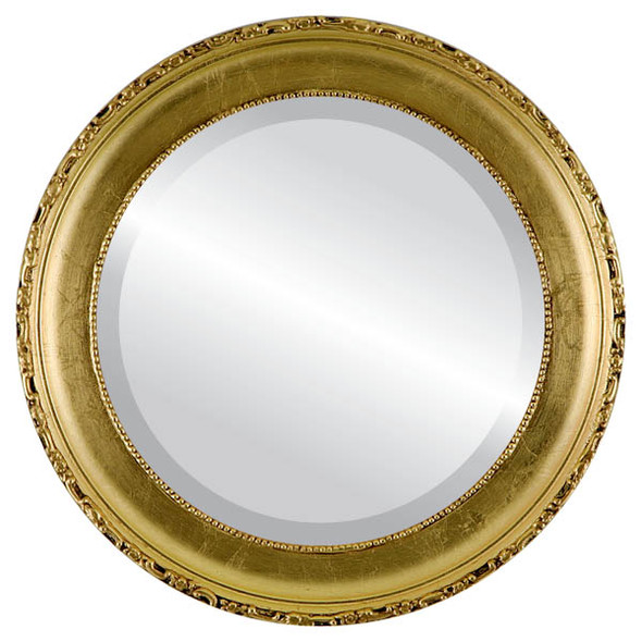 Beveled Mirror - Kensington Round Frame - Gold Leaf