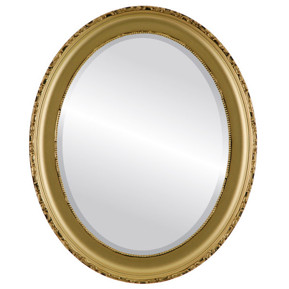 Beveled Mirror - Kensington Oval Frame - Gold Spray