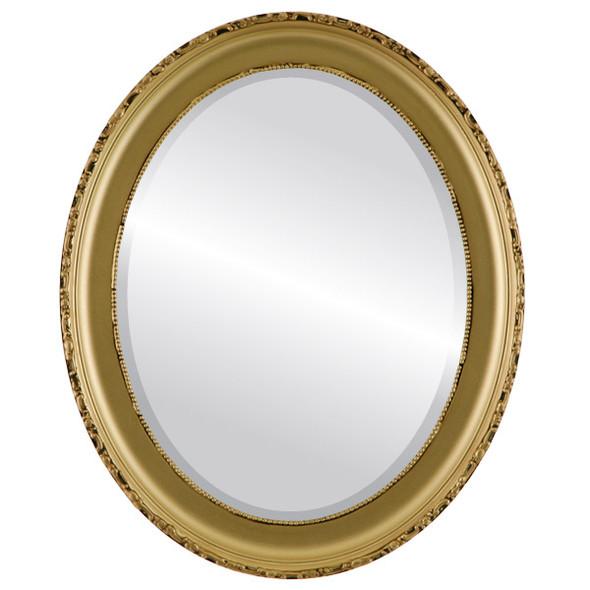 Beveled Mirror - Kensington Oval Frame - Gold Spray