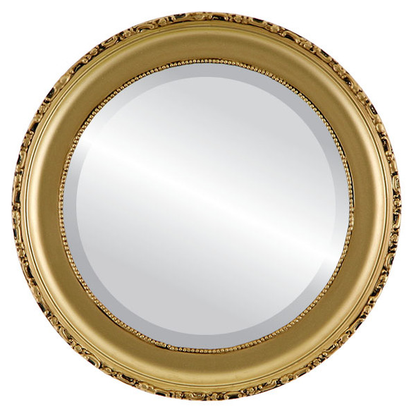 Beveled Mirror - Kensington Round Frame - Gold Spray