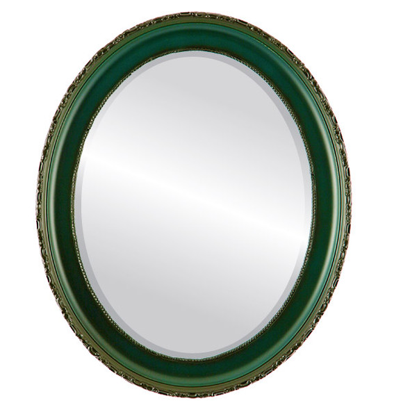 Beveled Mirror - Kensington Oval Frame - Hunter Green