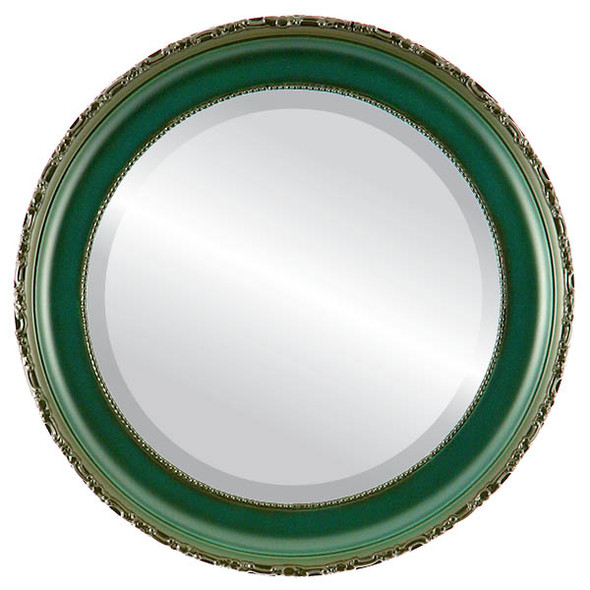 Beveled Mirror - Kensington Round Frame - Hunter Green