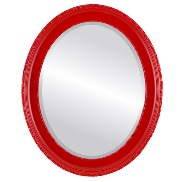 Beveled Mirror - Kensington Oval Frame - Holiday Red