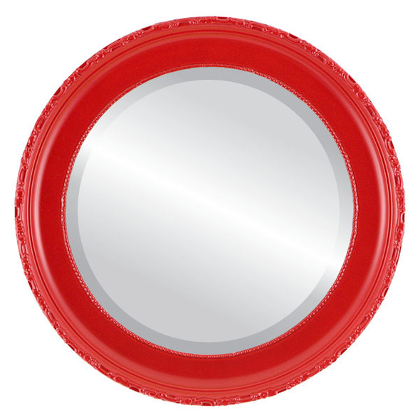 Beveled Mirror - Kensington Round Frame - Holiday Red