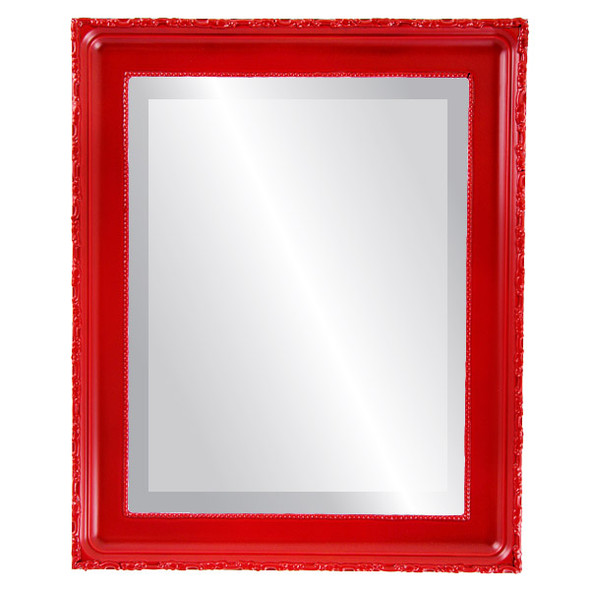Beveled Mirror - Kensington Rectangle Frame - Holiday Red