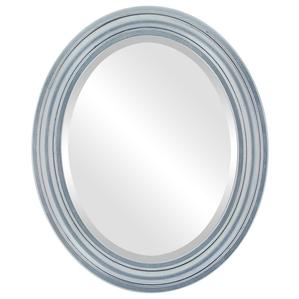 Beveled Mirror - Philadelphia Oval Frame - Silver Leaf with Black Antique