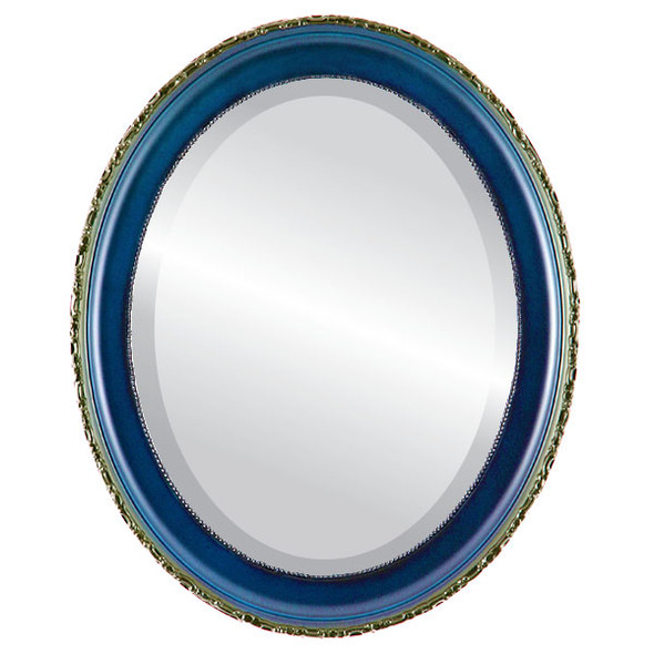 Beveled Mirror - Kensington Oval Frame - Royal Blue