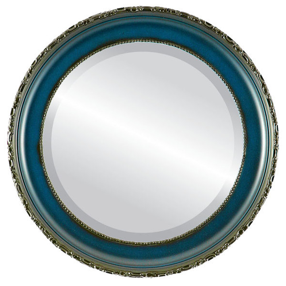 Beveled Mirror - Kensington Round Frame - Royal Blue