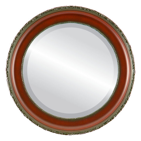 Beveled Mirror - Kensington Round Frame - Rosewood
