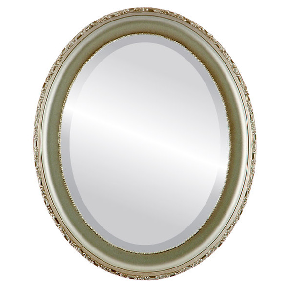 Beveled Mirror - Kensington Oval Frame - Silver Shade