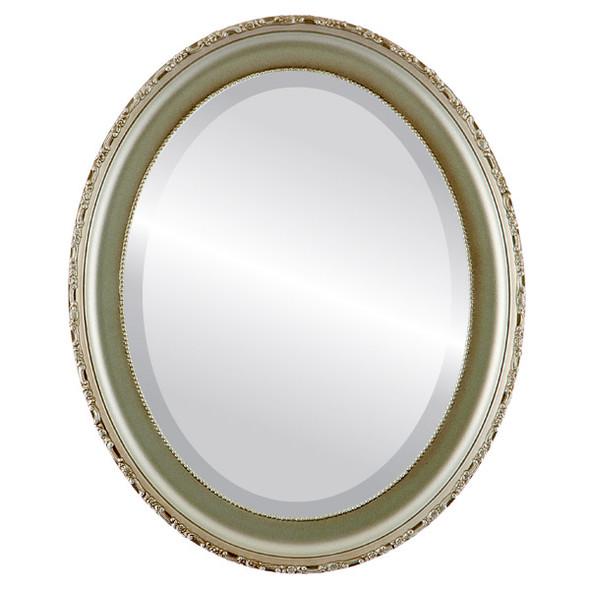 Beveled Mirror - Kensington Oval Frame - Silver Shade