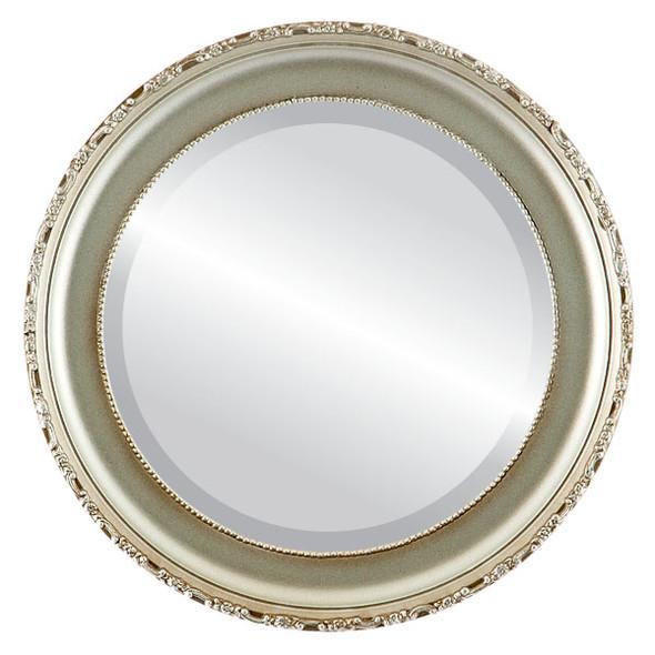 Beveled Mirror - Kensington Round Frame - Silver Shade