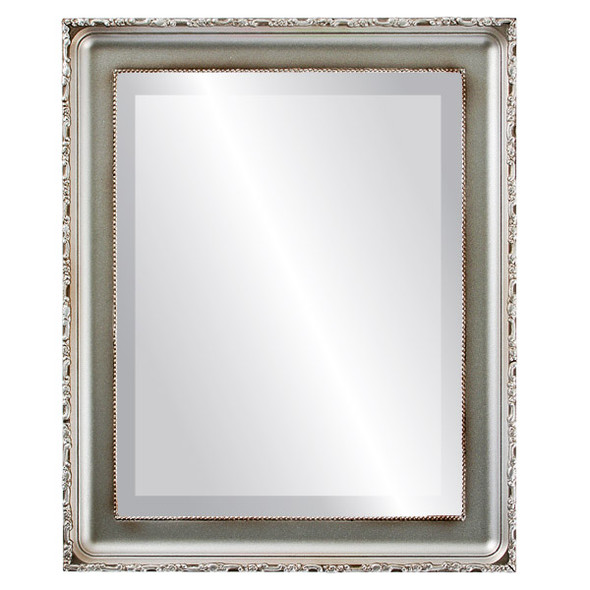 Beveled Mirror - Kensington Rectangle Frame - Silver Shade