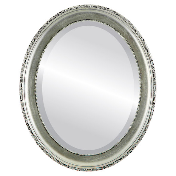 Beveled Mirror - Kensington Oval Frame - Silver Leaf with Black Antique
