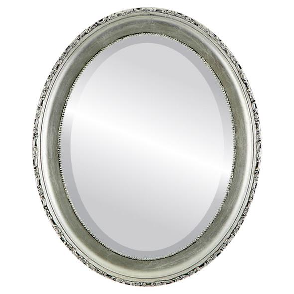 Beveled Mirror - Kensington Oval Frame - Silver Leaf with Black Antique