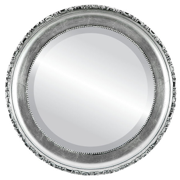 Beveled Mirror - Kensington Round Frame - Silver Leaf with Black Antique
