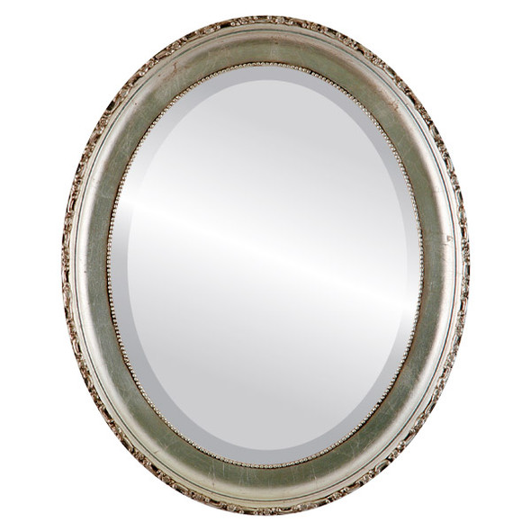 Beveled Mirror - Kensington Oval Frame - Silver Leaf with Brown Antique