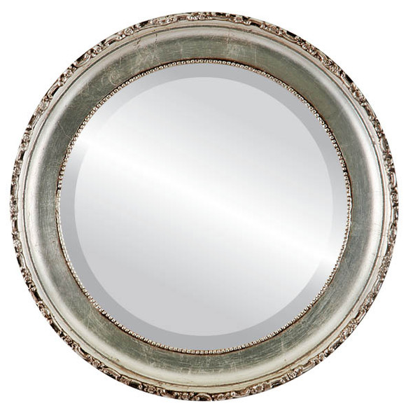 Beveled Mirror - Kensington Round Frame - Silver Leaf with Brown Antique