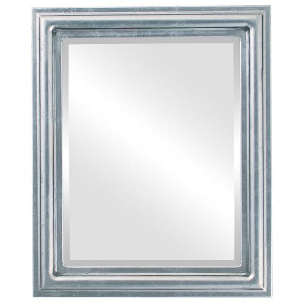 Beveled Mirror - Philadelphia Rectangle Frame - Silver Leaf with Black Antique