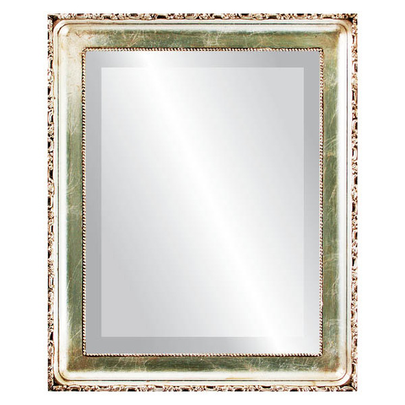 Beveled Mirror - Kensington Rectangle Frame - Silver Leaf with Brown Antique