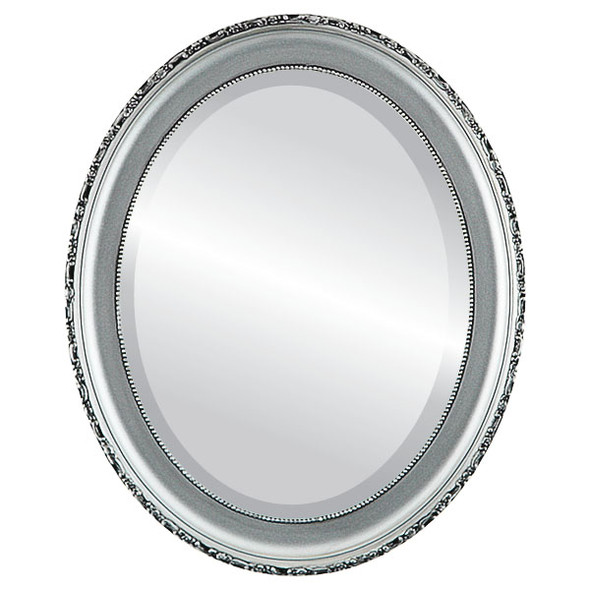 Beveled Mirror - Kensington Oval Frame - Silver Spray