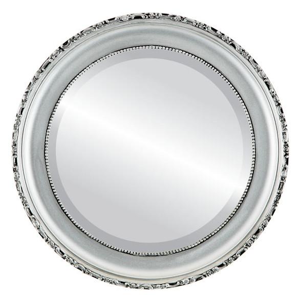 Beveled Mirror - Kensington Round Frame - Silver Spray