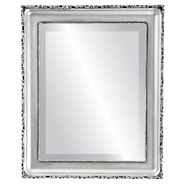 Beveled Mirror - Kensington Rectangle Frame - Silver Spray