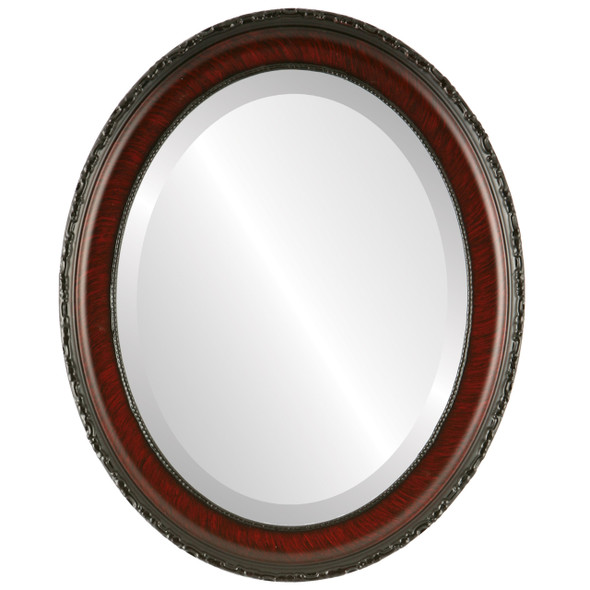 Beveled Mirror - Kensington Oval Frame - Vintage Cherry