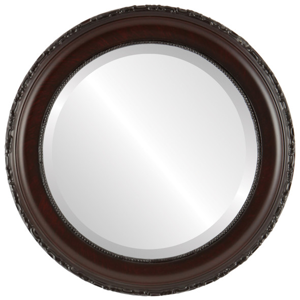 Beveled Mirror - Kensington Round Frame - Vintage Cherry
