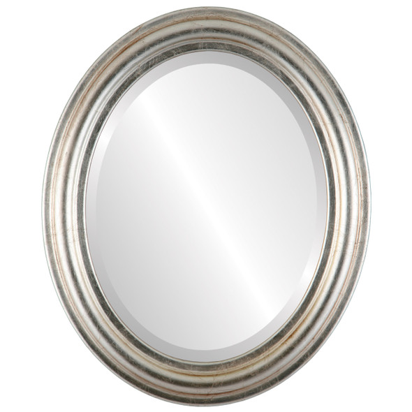Beveled Mirror - Philadelphia Oval Frame - Silver Leaf with Brown Antique