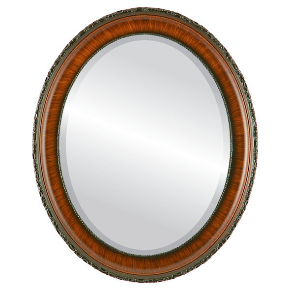 Beveled Mirror - Kensington Oval Frame - Vintage Walnut