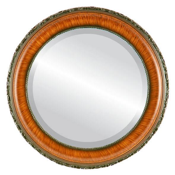 Beveled Mirror - Kensington Round Frame - Vintage Walnut