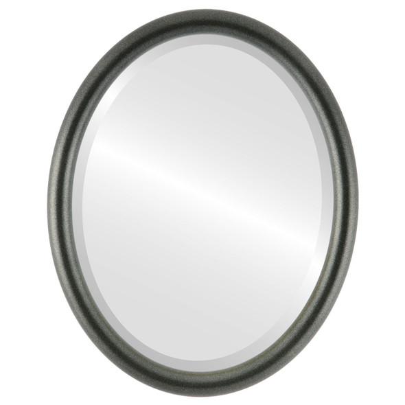 Bevelled Mirror - Pasadena Oval Frame - Black Silver
