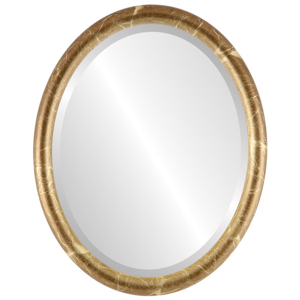 Bevelled Mirror - Pasadena Oval Frame - Champagne Gold
